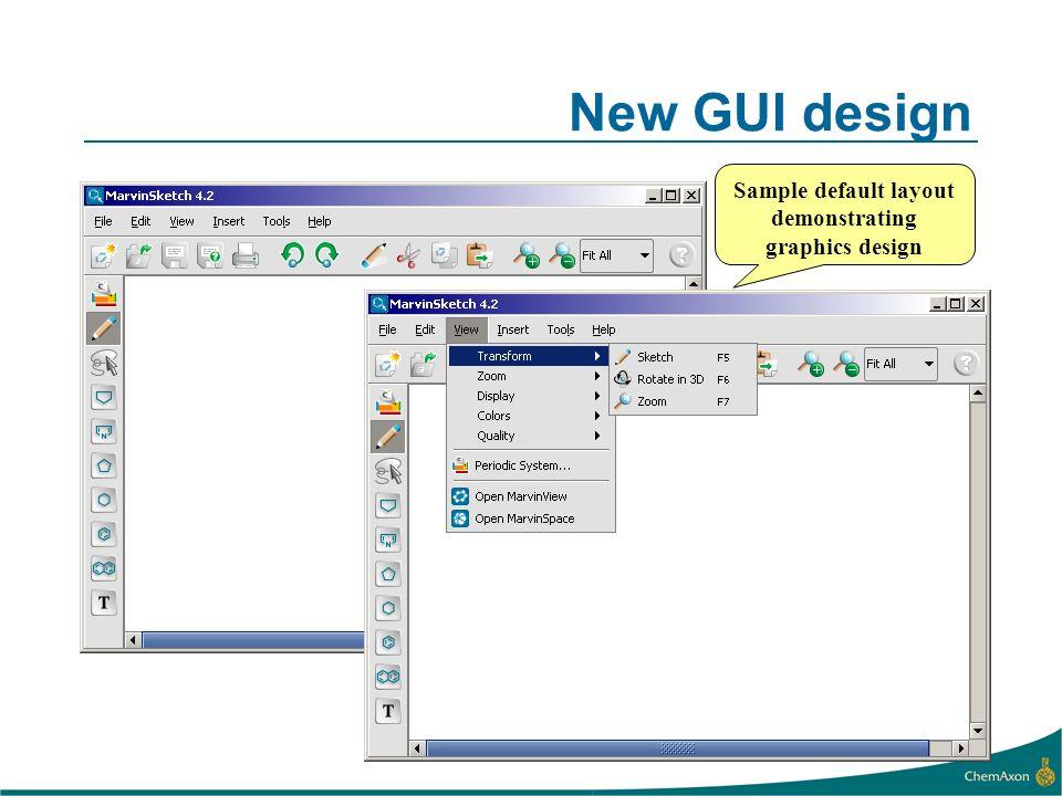 New GUI design Sample default layout demonstrating graphics design