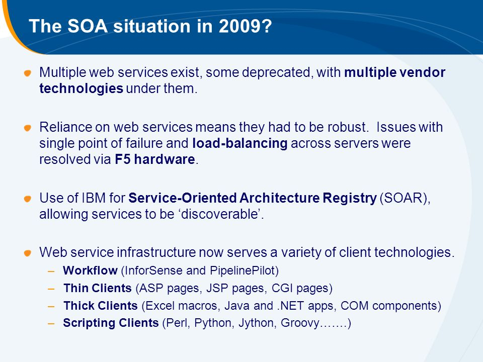 The SOA situation in 2009.