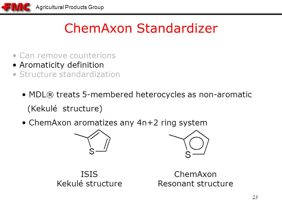 Agricultural Products Group 23 ChemAxon Standardizer MDL® treats 5-membered heterocycles as non-aromatic (Kekulé structure) ChemAxon aromatizes any 4n