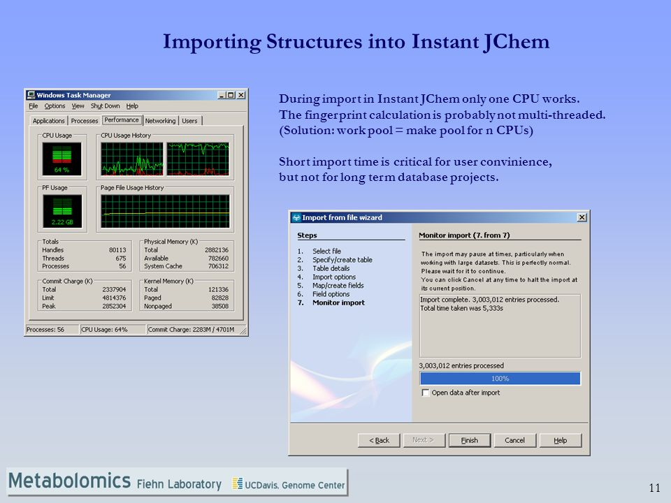 11 During import in Instant JChem only one CPU works.