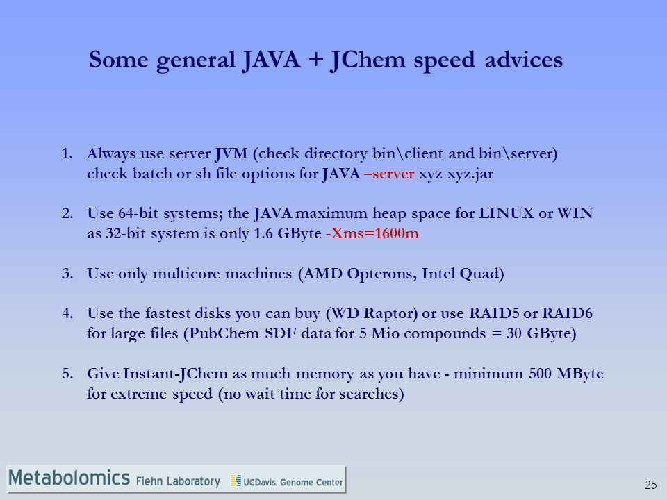25 Some general JAVA + JChem speed advices 1.Always use server JVM (check directory bin\client and bin\server) check batch or sh file options for JAVA –server xyz xyz.jar 2.Use 64-bit systems; the JAVA maximum heap space for LINUX or WIN as 32-bit system is only 1.6 GByte -Xms=1600m 3.Use only multicore machines (AMD Opterons, Intel Quad) 4.Use the fastest disks you can buy (WD Raptor) or use RAID5 or RAID6 for large files (PubChem SDF data for 5 Mio compounds = 30 GByte) 5.Give Instant-JChem as much memory as you have - minimum 500 MByte for extreme speed (no wait time for searches)