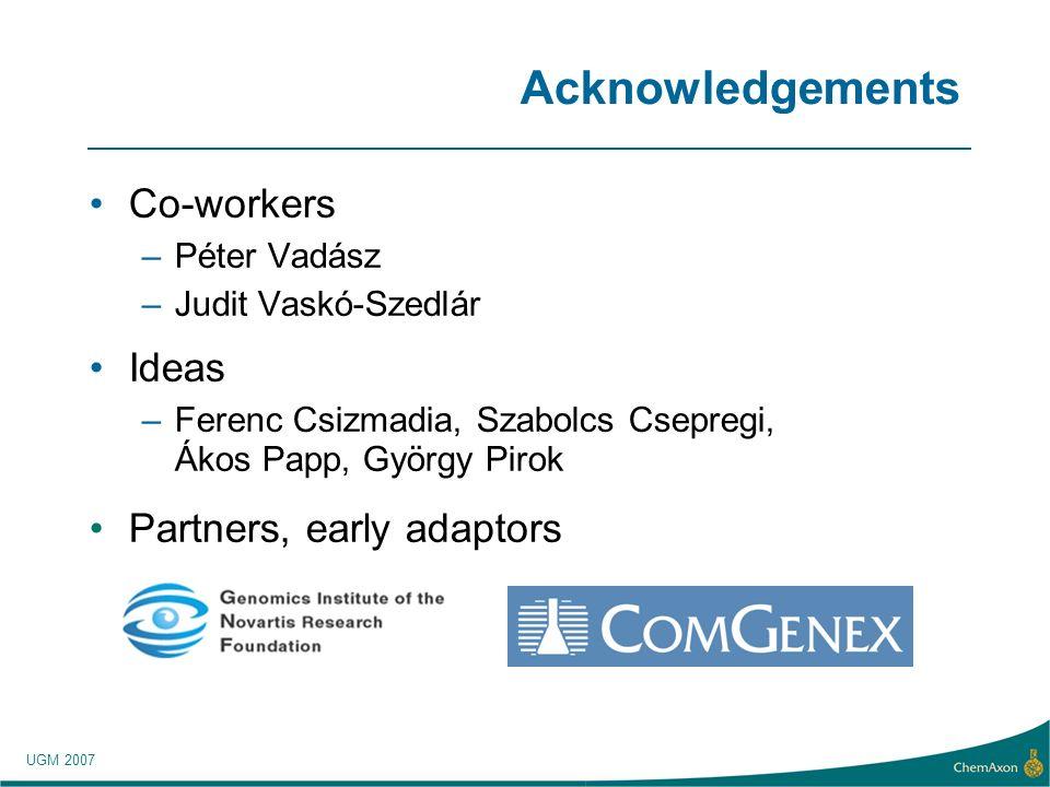 UGM 2007 Acknowledgements Co-workers –Péter Vadász –Judit Vaskó-Szedlár Ideas –Ferenc Csizmadia, Szabolcs Csepregi, Ákos Papp, György Pirok Partners, early adaptors