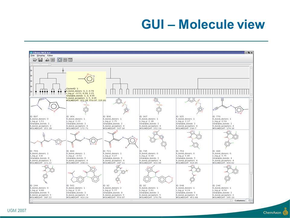 UGM 2007 GUI – Molecule view