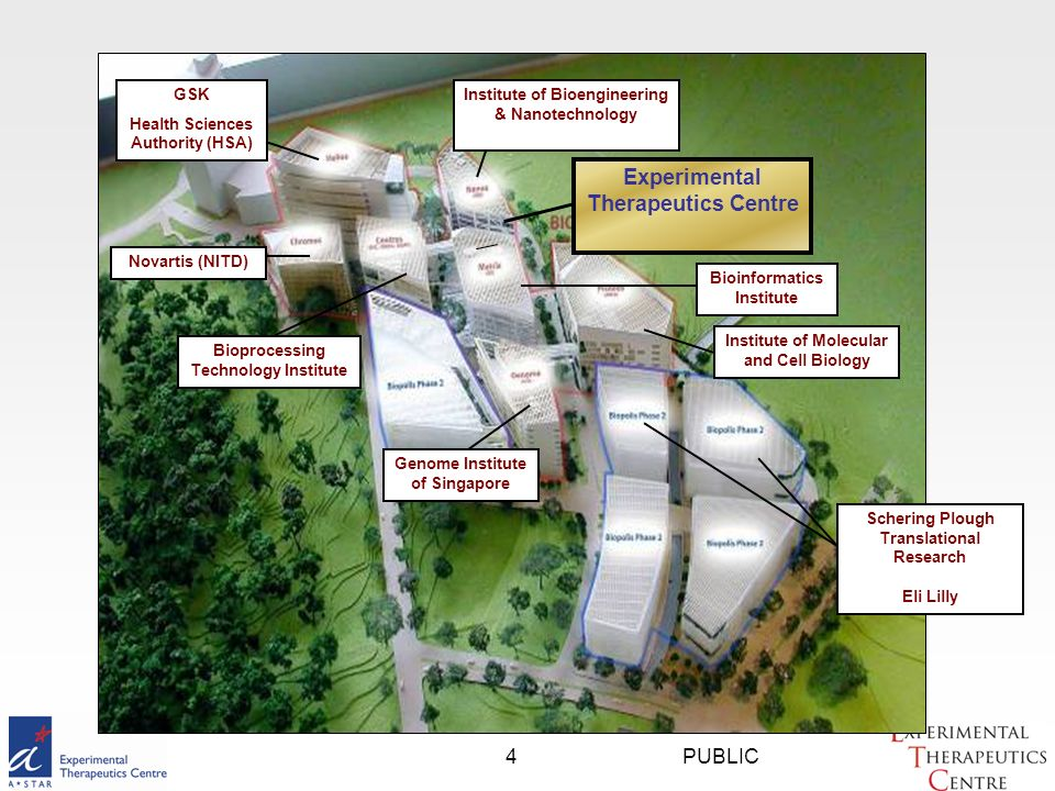 PUBLIC4 Institute of Bioengineering & Nanotechnology Bioprocessing Technology Institute Bioinformatics Institute Institute of Molecular and Cell Biology Genome Institute of Singapore GSK Health Sciences Authority (HSA) Experimental Therapeutics Centre Novartis (NITD) Schering Plough Translational Research Eli Lilly