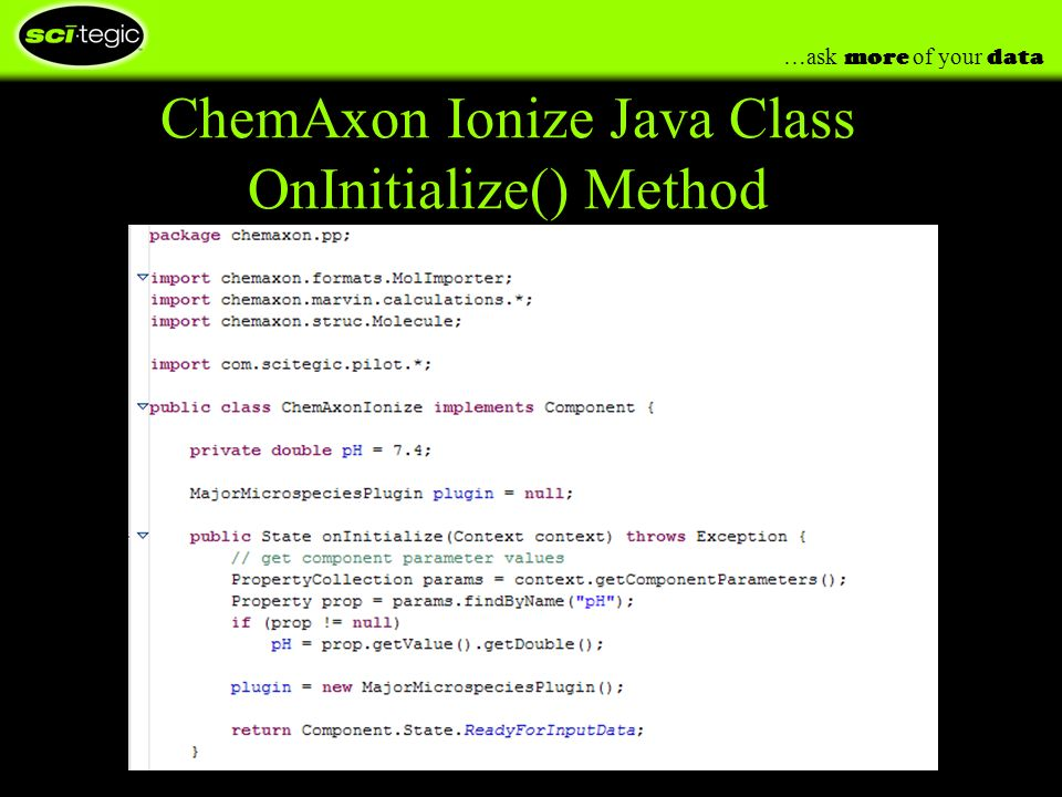 …ask more of your data ChemAxon Ionize Java Class OnInitialize() Method