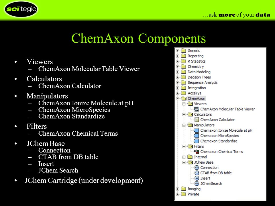 …ask more of your data ChemAxon Components Viewers – ChemAxon Molecular Table Viewer Calculators – ChemAxon Calculator Manipulators – ChemAxon Ionize Molecule at pH – ChemAxon MicroSpecies – ChemAxon Standardize Filters – ChemAxon Chemical Terms JChem Base – Connection – CTAB from DB table – Insert – JChem Search JChem Cartridge (under development)