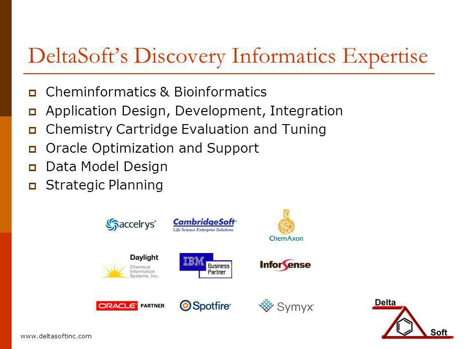 DeltaSofts Discovery Informatics Expertise Cheminformatics & Bioinformatics Application Design, Development, Integration Chemistry Cartridge Evaluatio
