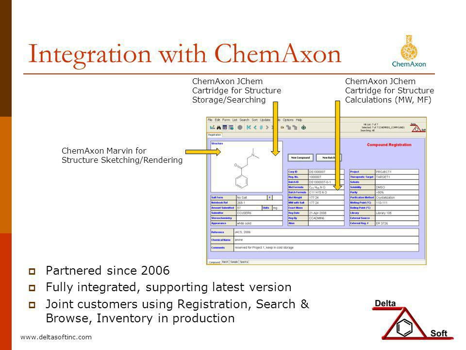 Integration with ChemAxon ChemAxon Marvin for Structure Sketching/Rendering ChemAxon JChem Cartridge for Structure Storage/Searching ChemAxon JChem Ca