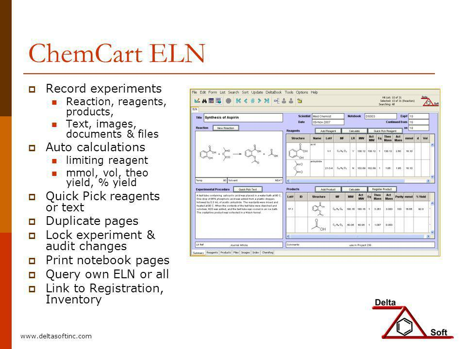 ChemCart ELN Record experiments Reaction, reagents, products, Text, images, documents & files Auto calculations limiting reagent mmol, vol, theo yield