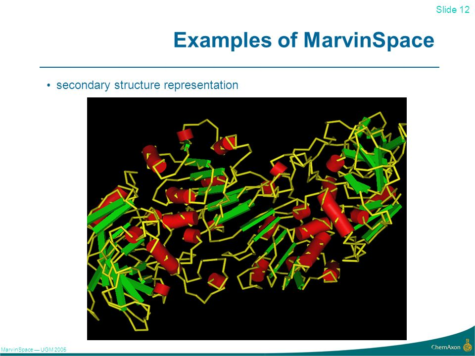 Slide 12 MarvinSpace UGM 2005 12 Examples of MarvinSpace secondary structure representation