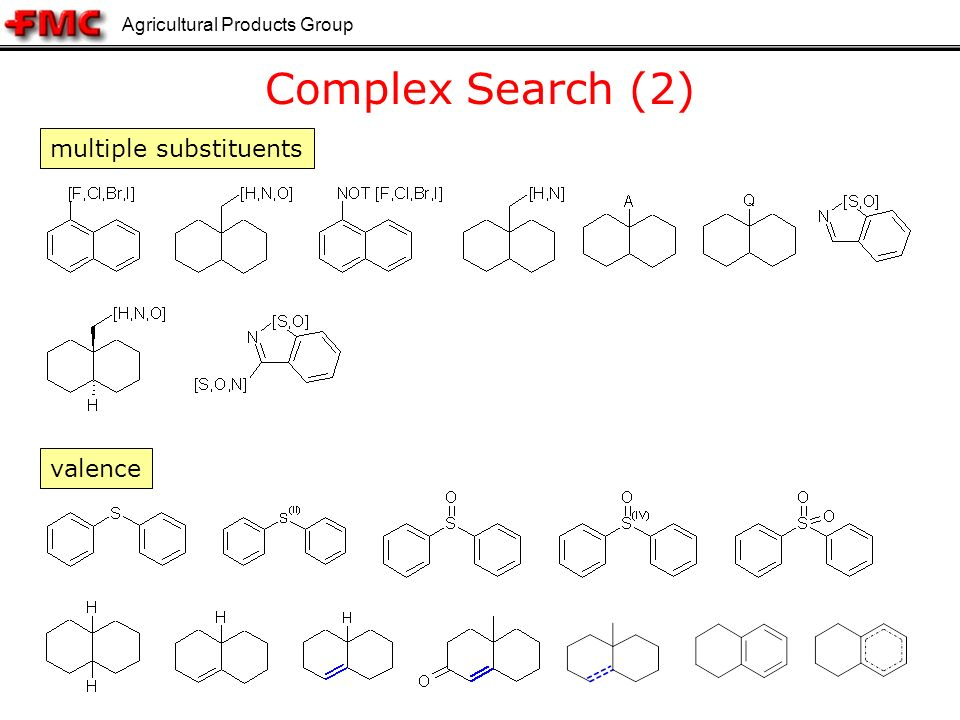 Agricultural Products Group 13 Complex Search (2) multiple substituents valence