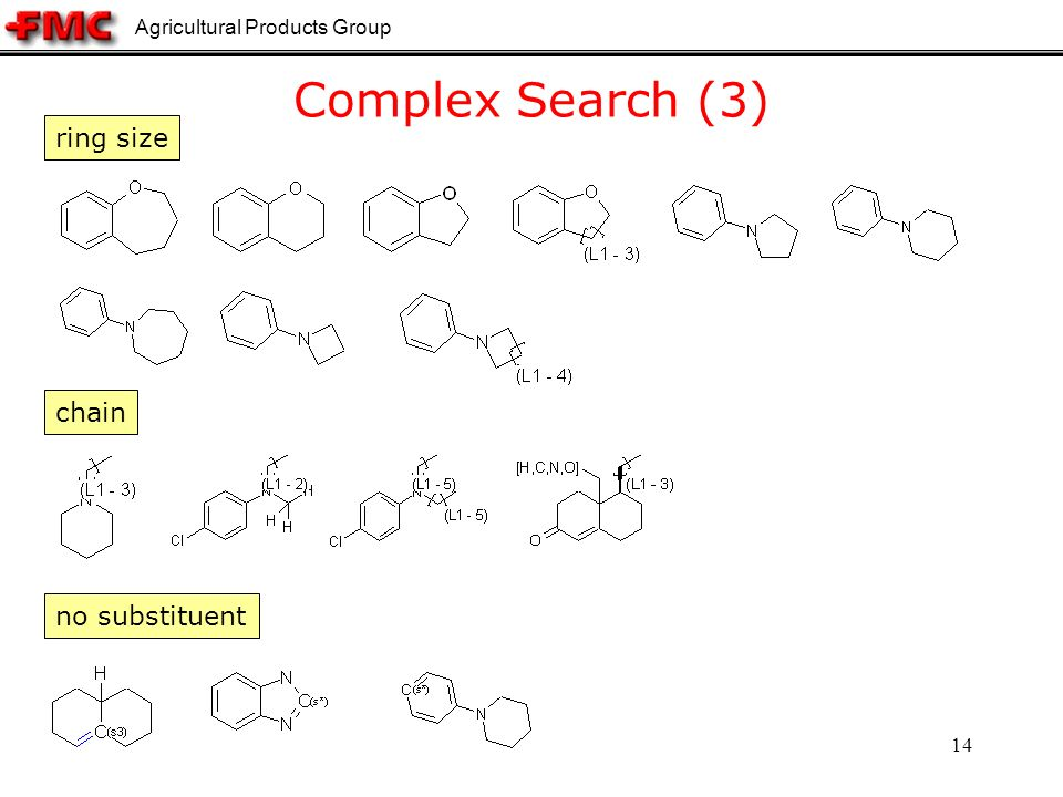 Agricultural Products Group 14 Complex Search (3) ring size chain no substituent