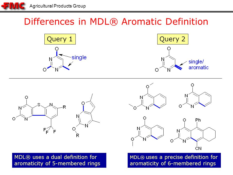 Agricultural Products Group 19 Differences in MDL® Aromatic Definition MDL® uses a precise definition for aromaticity of 6-membered rings Query 2Query 1 MDL® uses a dual definition for aromaticity of 5-membered rings