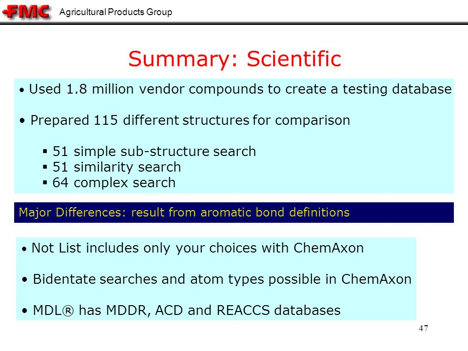 Agricultural Products Group 47 Major Differences: result from aromatic bond definitions Used 1.8 million vendor compounds to create a testing database Prepared 115 different structures for comparison 51 simple sub-structure search 51 similarity search 64 complex search Summary: Scientific Not List includes only your choices with ChemAxon Bidentate searches and atom types possible in ChemAxon MDL® has MDDR, ACD and REACCS databases