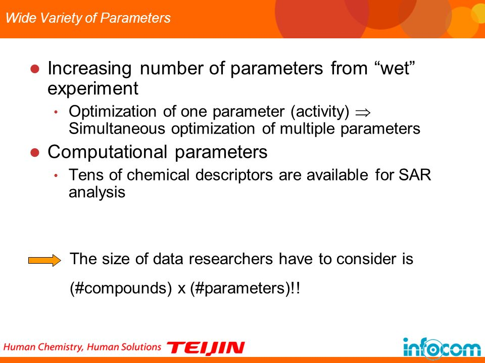 Wide Variety of Parameters Increasing number of parameters from wet experiment Optimization of one parameter (activity) Simultaneous optimization of m