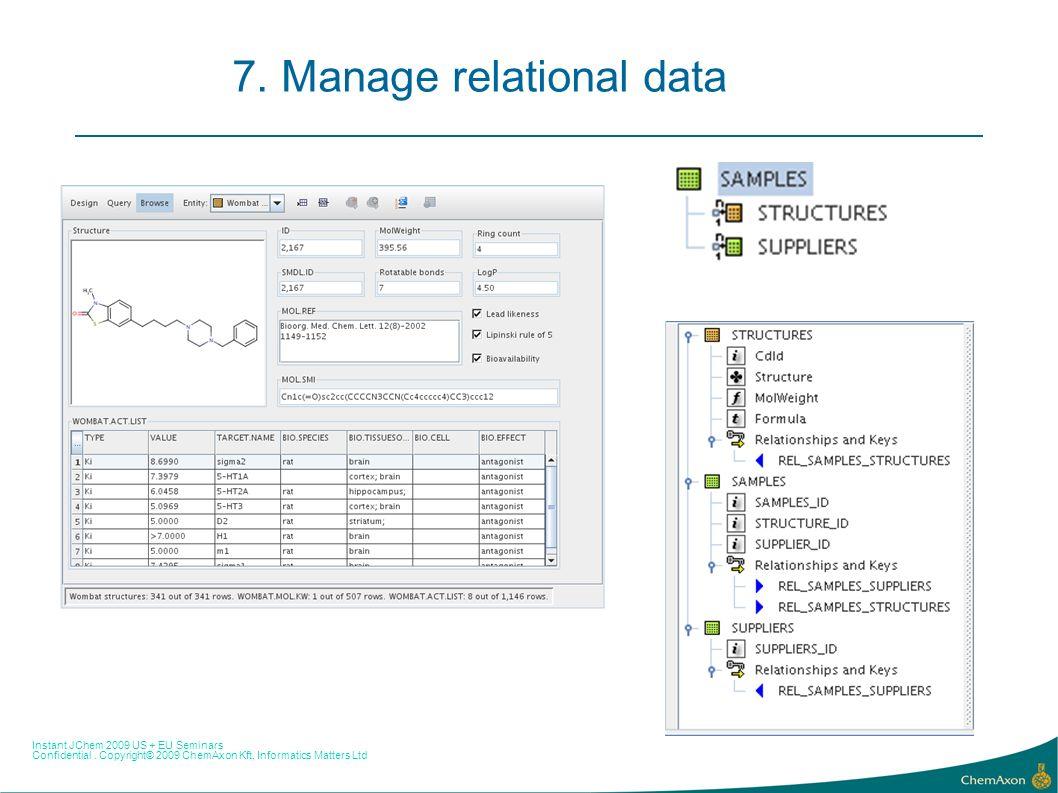 Instant JChem 2009 US + EU Seminars Confidential. Copyright© 2009 ChemAxon Kft, Informatics Matters Ltd 7. Manage relational data