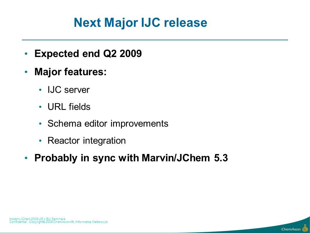 Instant JChem 2009 US + EU Seminars Confidential. Copyright© 2009 ChemAxon Kft, Informatics Matters Ltd Next Major IJC release Expected end Q2 2009 Ma