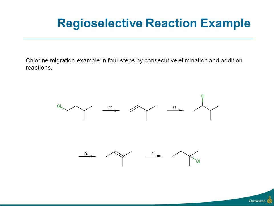 Regioselective Reaction Example Chlorine migration example in four steps by consecutive elimination and addition reactions.