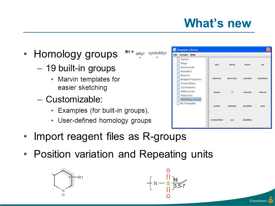 Whats new Homology groups –19 built-in groups Marvin templates for easier sketching –Customizable: Examples (for built-in groups), User-defined homolo