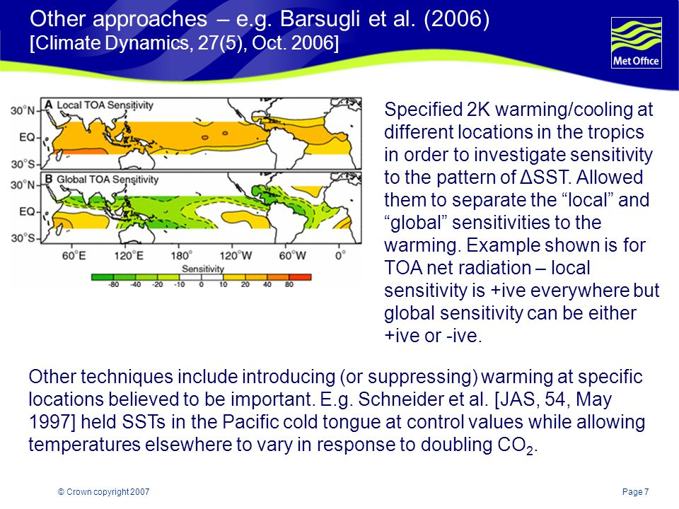 Page 7© Crown copyright 2007 Other approaches – e.g. Barsugli et al. (2006) [Climate Dynamics, 27(5), Oct. 2006] Specified 2K warming/cooling at diffe
