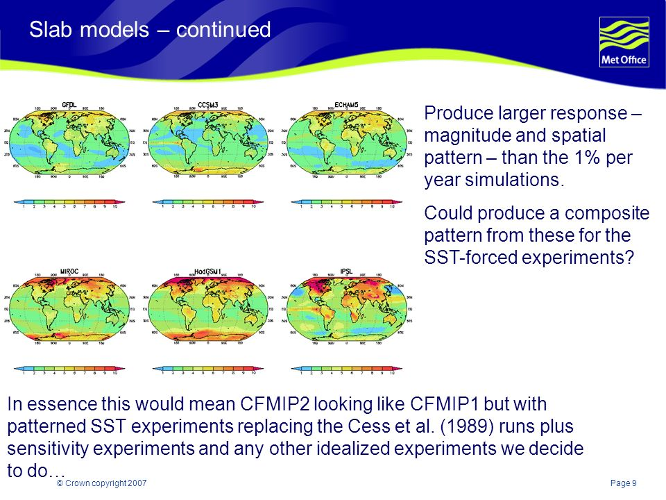 Page 9© Crown copyright 2007 Slab models – continued Produce larger response – magnitude and spatial pattern – than the 1% per year simulations. Could
