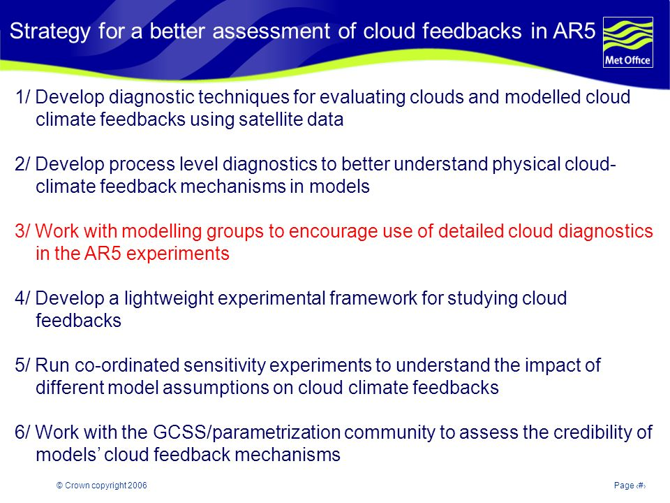 © Crown copyright 2006Page 15 Strategy for a better assessment of cloud feedbacks in AR5 1/ Develop diagnostic techniques for evaluating clouds and modelled cloud climate feedbacks using satellite data 2/ Develop process level diagnostics to better understand physical cloud- climate feedback mechanisms in models 3/ Work with modelling groups to encourage use of detailed cloud diagnostics in the AR5 experiments 4/ Develop a lightweight experimental framework for studying cloud feedbacks 5/ Run co-ordinated sensitivity experiments to understand the impact of different model assumptions on cloud climate feedbacks 6/ Work with the GCSS/parametrization community to assess the credibility of models cloud feedback mechanisms