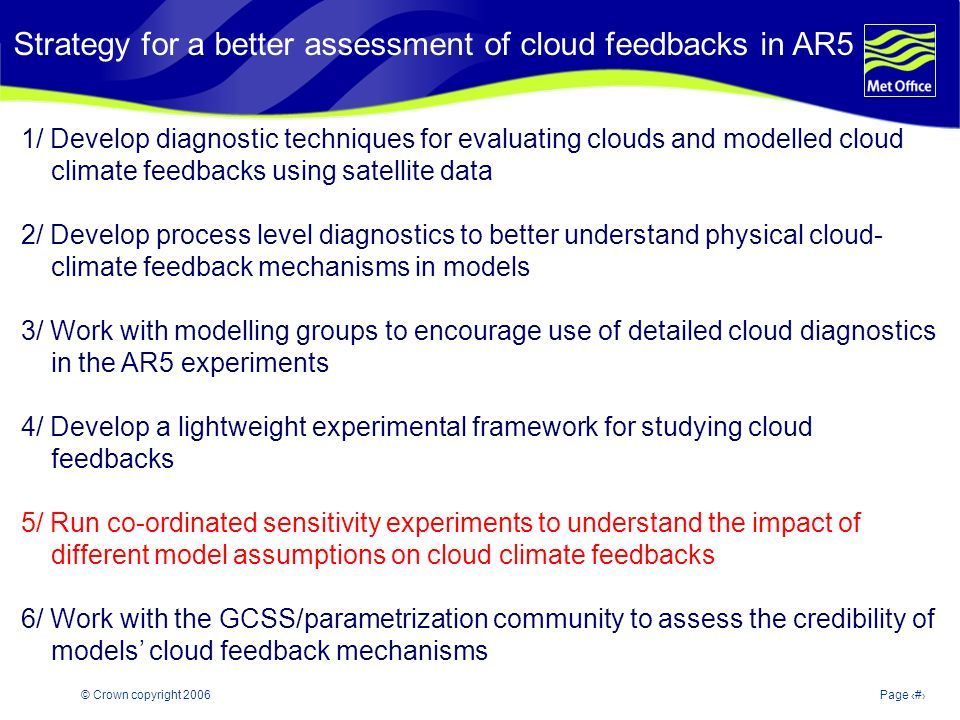 © Crown copyright 2006Page 20 Strategy for a better assessment of cloud feedbacks in AR5 1/ Develop diagnostic techniques for evaluating clouds and modelled cloud climate feedbacks using satellite data 2/ Develop process level diagnostics to better understand physical cloud- climate feedback mechanisms in models 3/ Work with modelling groups to encourage use of detailed cloud diagnostics in the AR5 experiments 4/ Develop a lightweight experimental framework for studying cloud feedbacks 5/ Run co-ordinated sensitivity experiments to understand the impact of different model assumptions on cloud climate feedbacks 6/ Work with the GCSS/parametrization community to assess the credibility of models cloud feedback mechanisms