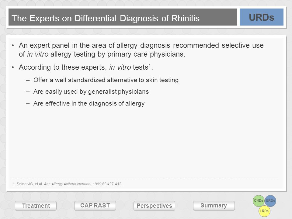 CHDsURDs LRDs Treatment CAP RASTSummary Perspectives The Experts on Differential Diagnosis of Rhinitis An expert panel in the area of allergy diagnosi