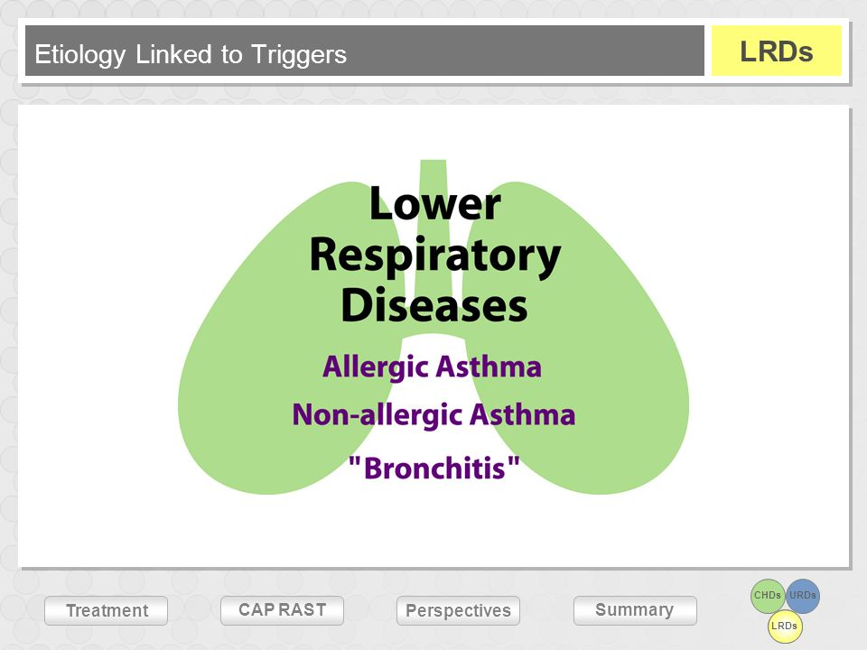 Treatment Summary Perspectives CAP RAST CHDsURDs LRDs Etiology Linked to Triggers LRDs