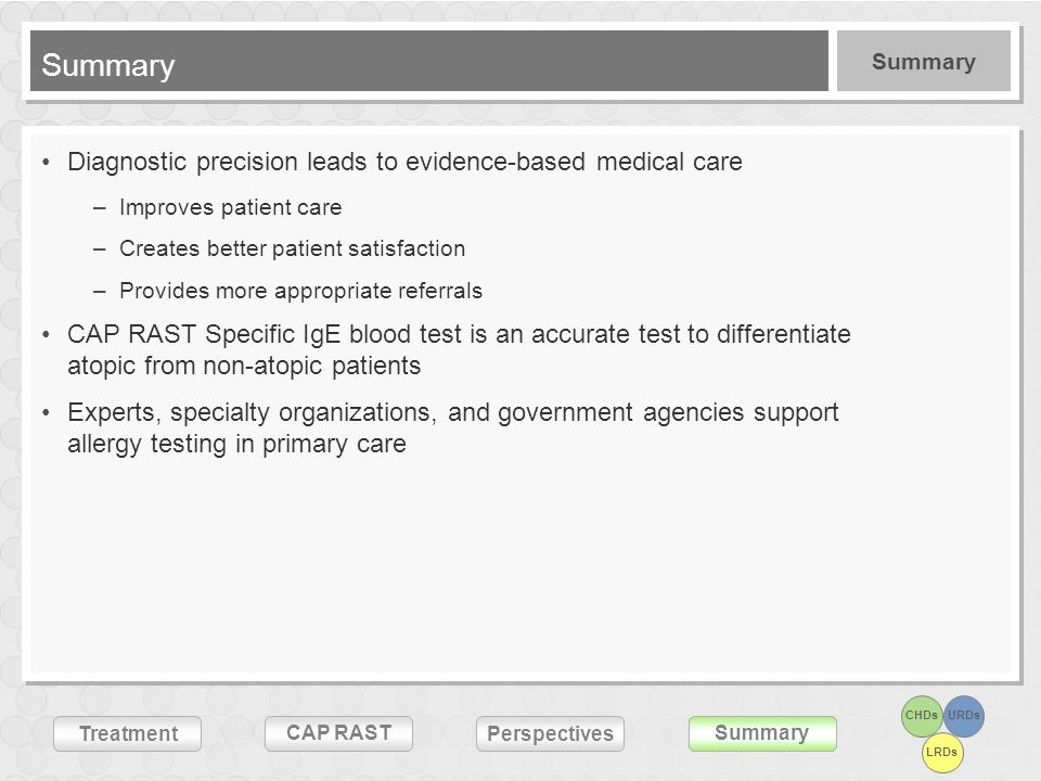 CHDsURDs LRDs Treatment CAP RASTSummary Perspectives Summary Diagnostic precision leads to evidence-based medical care –Improves patient care –Creates