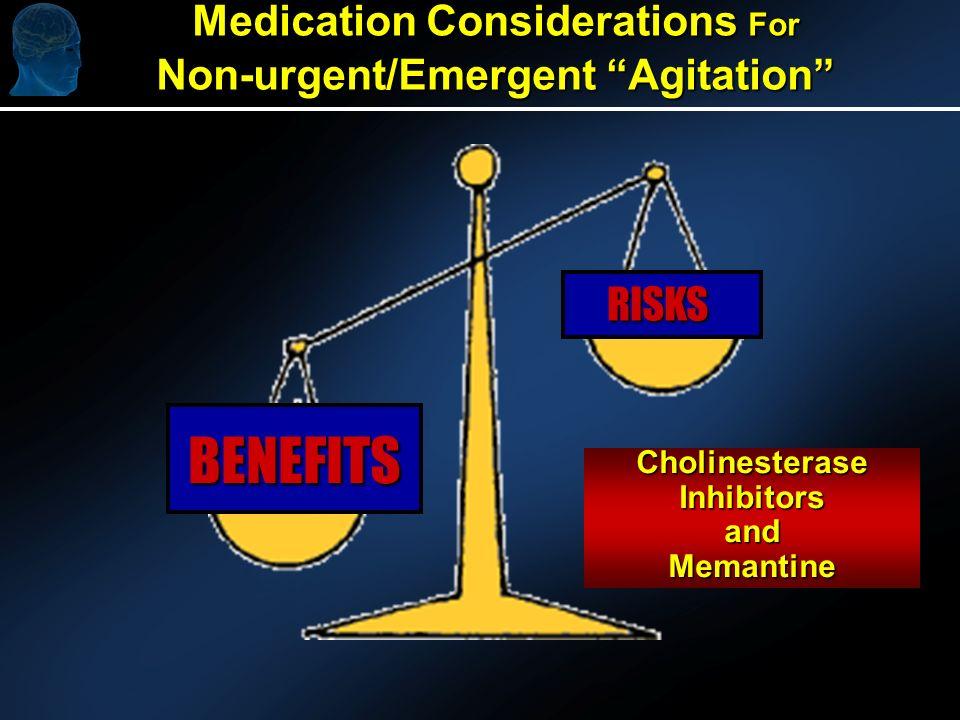 Medication Considerations For Non-urgent/Emergent Agitation BENEFITS RISKS CholinesteraseInhibitorsandMemantine