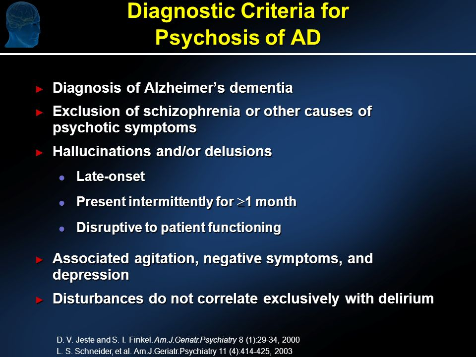 Diagnostic Criteria for Psychosis of AD Diagnosis of Alzheimers dementia Diagnosis of Alzheimers dementia Exclusion of schizophrenia or other causes of psychotic symptoms Exclusion of schizophrenia or other causes of psychotic symptoms Hallucinations and/or delusions Hallucinations and/or delusions l Late-onset l Present intermittently for 1 month l Disruptive to patient functioning Associated agitation, negative symptoms, and depression Associated agitation, negative symptoms, and depression Disturbances do not correlate exclusively with delirium Disturbances do not correlate exclusively with delirium D.