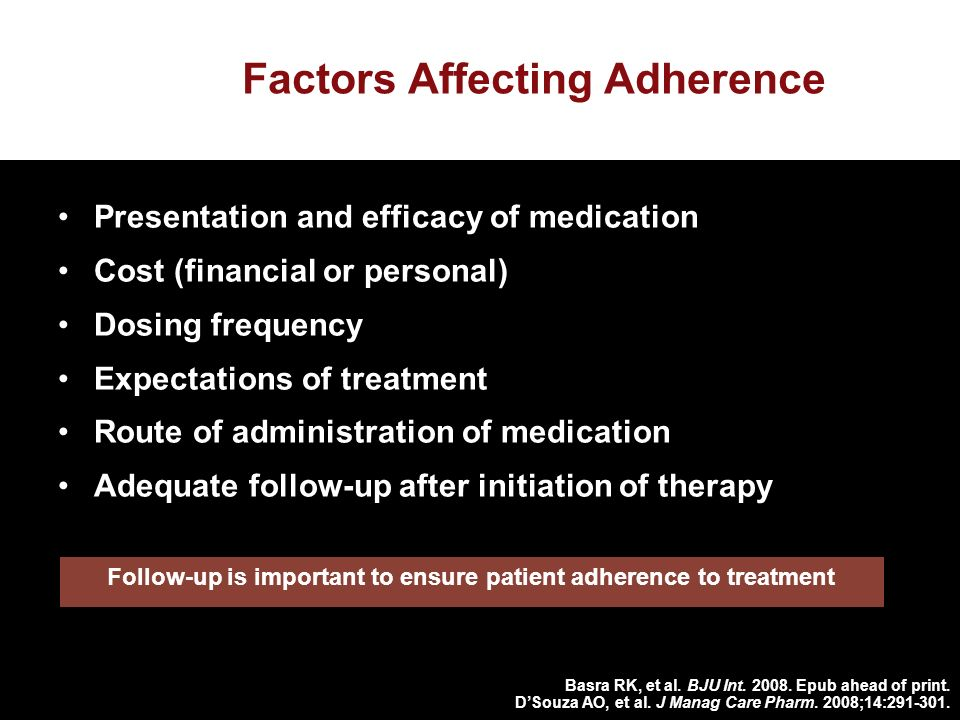 Factors Affecting Adherence Presentation and efficacy of medication Cost (financial or personal) Dosing frequency Expectations of treatment Route of administration of medication Adequate follow-up after initiation of therapy Basra RK, et al.