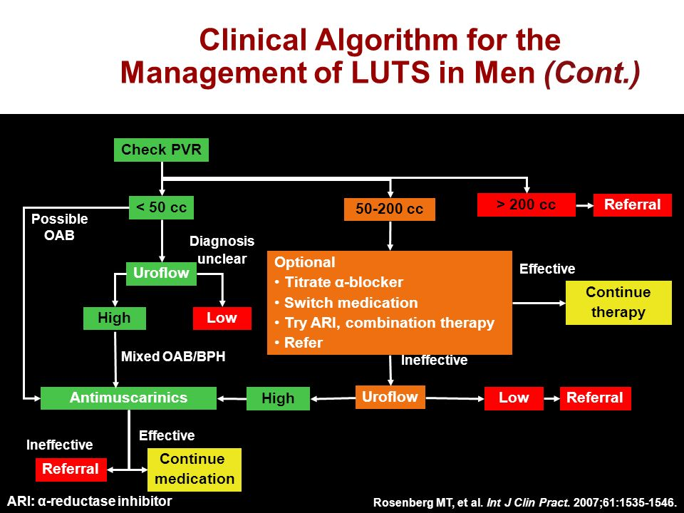 Clinical Algorithm for the Management of LUTS in Men (Cont.) Optional Titrate α -blocker Switch medication Try ARI, combination therapy Refer Uroflow High Low HighLow Antimuscarinics < 50 cc 50-200 cc > 200 cc Referral Continue therapy Referral Continue medication Effective Ineffective Effective Possible OAB Mixed OAB/BPH Diagnosis unclear Check PVR ARI: α-reductase inhibitor Rosenberg MT, et al.