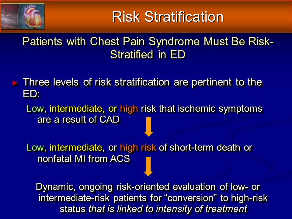 Patients with Chest Pain Syndrome Must Be Risk- Stratified in ED Three levels of risk stratification are pertinent to the ED: Three levels of risk stratification are pertinent to the ED: Low, intermediate, or high risk that ischemic symptoms are a result of CAD Low, intermediate, or high risk of short-term death or nonfatal MI from ACS Dynamic, ongoing risk-oriented evaluation of low- or intermediate-risk patients for conversion to high-risk status that is linked to intensity of treatment Three levels of risk stratification are pertinent to the ED: Three levels of risk stratification are pertinent to the ED: Low, intermediate, or high risk that ischemic symptoms are a result of CAD Low, intermediate, or high risk of short-term death or nonfatal MI from ACS Dynamic, ongoing risk-oriented evaluation of low- or intermediate-risk patients for conversion to high-risk status that is linked to intensity of treatment Risk Stratification