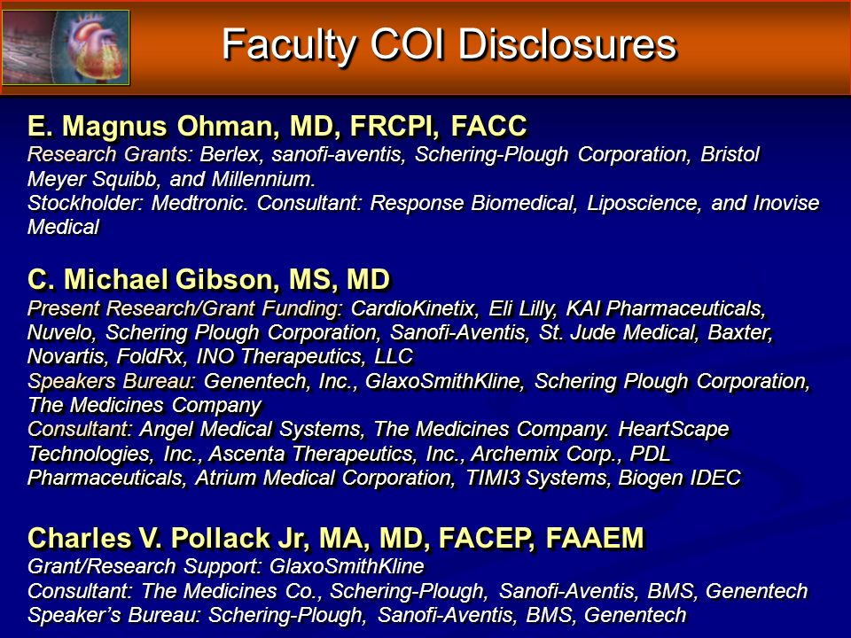 Faculty COI Disclosures Faculty COI Disclosures E.