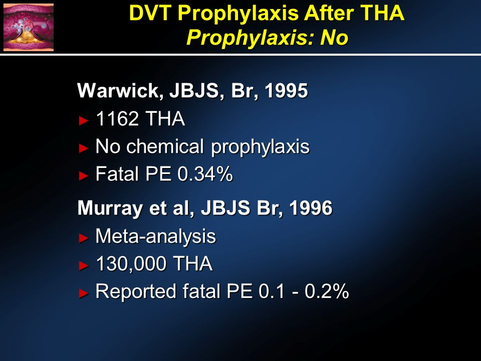 DVT Prophylaxis After THA Prophylaxis: No Warwick, JBJS, Br, 1995 1162 THA 1162 THA No chemical prophylaxis No chemical prophylaxis Fatal PE 0.34% Fatal PE 0.34% Murray et al, JBJS Br, 1996 Meta-analysis Meta-analysis 130,000 THA 130,000 THA Reported fatal PE 0.1 - 0.2% Reported fatal PE 0.1 - 0.2%