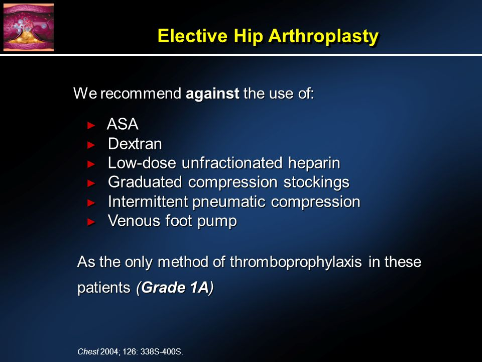 We recommend against the use of: As the only method of thromboprophylaxis in these patients (Grade 1A) ASA ASA Dextran Dextran Low-dose unfractionated heparin Low-dose unfractionated heparin Graduated compression stockings Graduated compression stockings Intermittent pneumatic compression Intermittent pneumatic compression Venous foot pump Venous foot pump Elective Hip Arthroplasty Chest 2004; 126: 338S-400S.