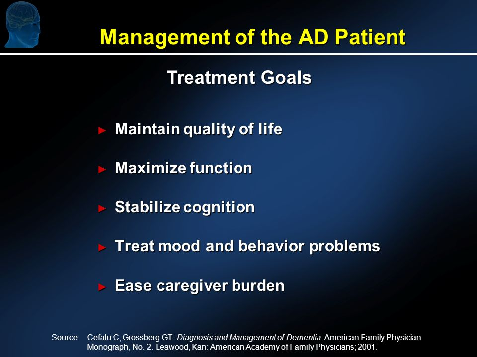 Management of the AD Patient Maintain quality of life Maintain quality of life Maximize function Maximize function Stabilize cognition Stabilize cogni