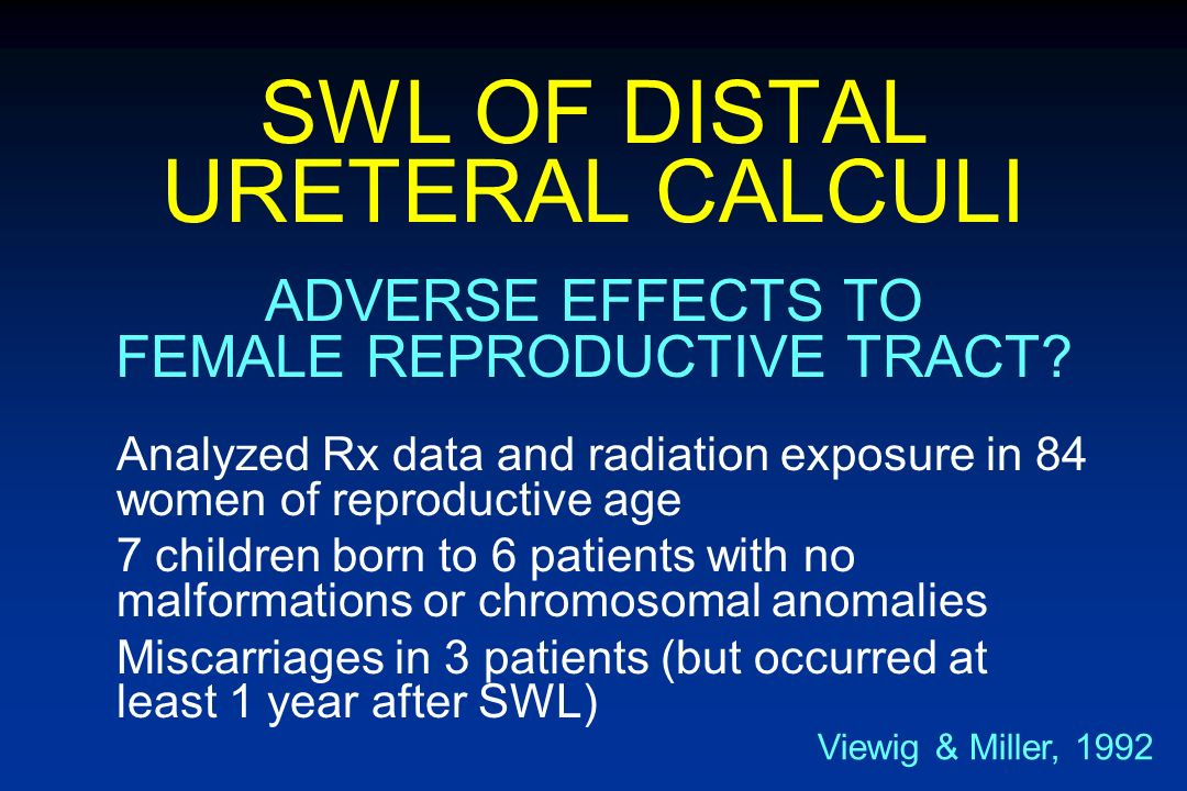 SWL OF DISTAL URETERAL CALCULI Initial animal studies suggest ovarian trauma Impaired fertility Mutagenesis Subsequent animal investigations demonstra