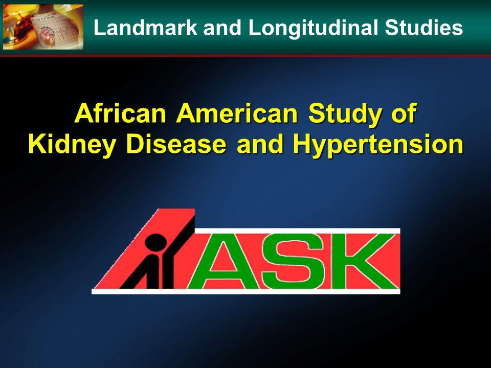African American Study of Kidney Disease and Hypertension Landmark and Longitudinal Studies