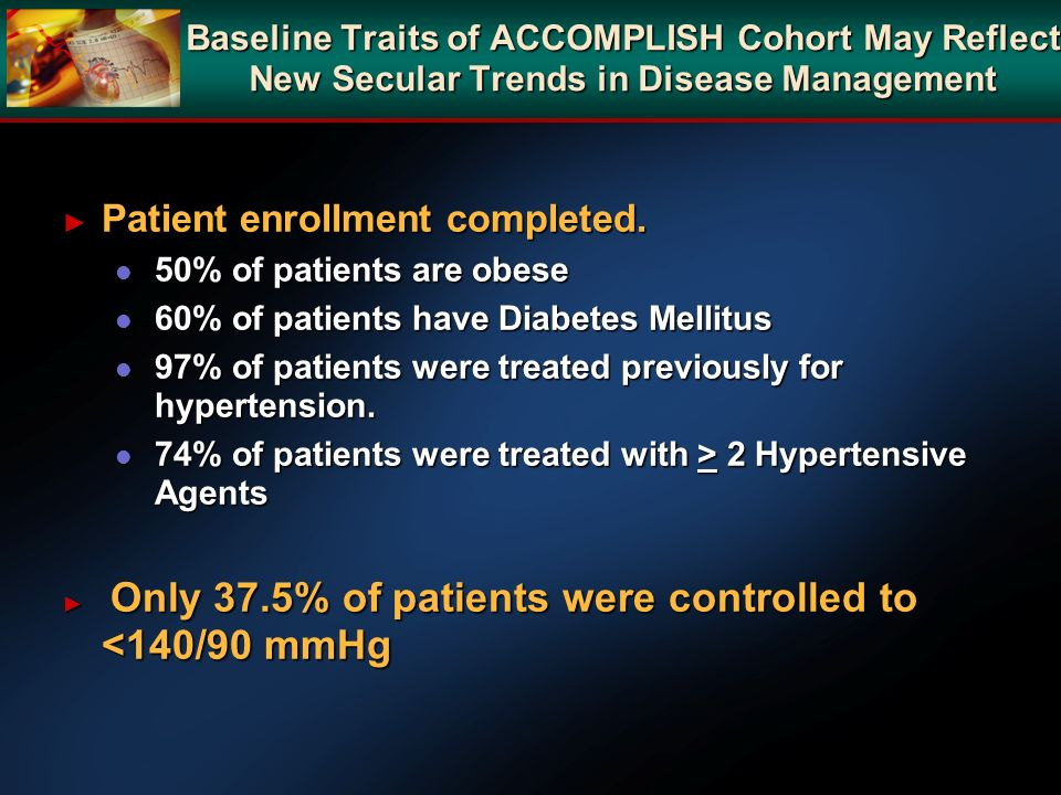 Baseline Traits of ACCOMPLISH Cohort May Reflect New Secular Trends in Disease Management Patient enrollment completed. Patient enrollment completed.