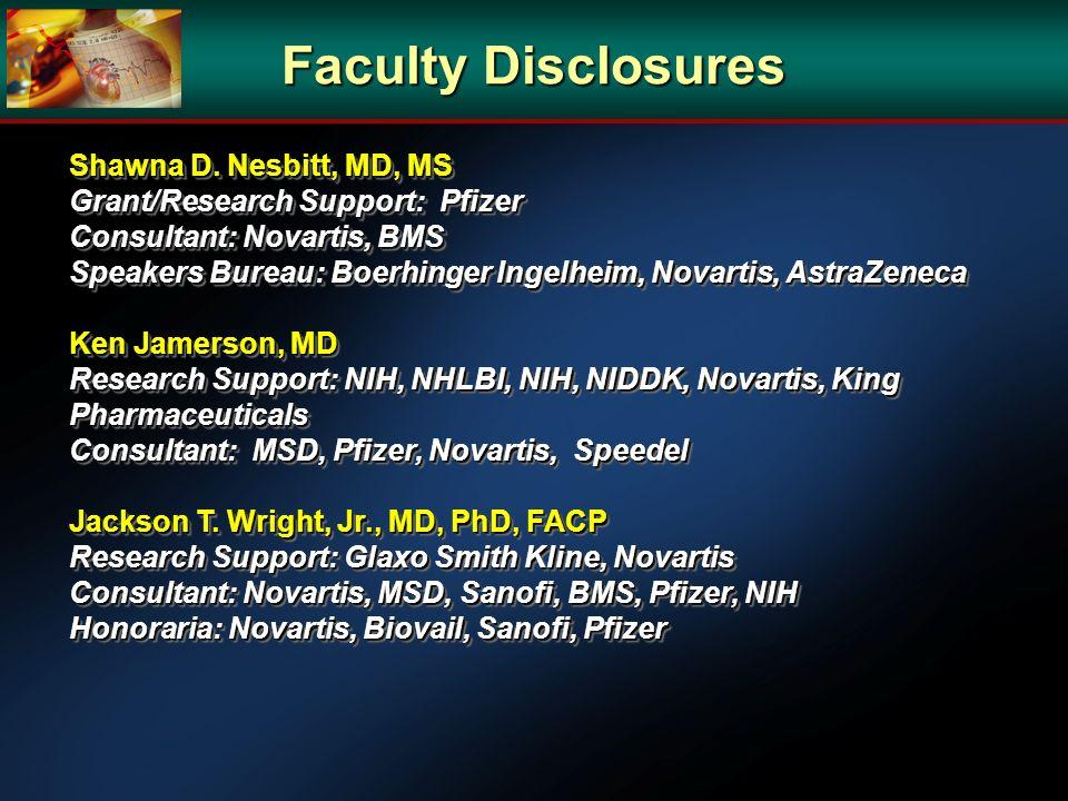 Faculty Disclosures Shawna D. Nesbitt, MD, MS Grant/Research Support: Pfizer Consultant: Novartis, BMS Speakers Bureau: Boerhinger Ingelheim, Novartis