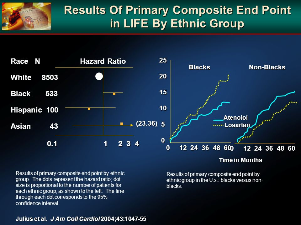 Results Of Primary Composite End Point in LIFE By Ethnic Group Results of primary composite end point by ethnic group. The dots represent the hazard r