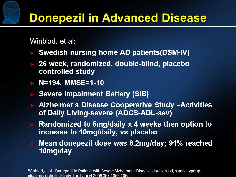 Donepezil in Advanced Disease Winblad, et al: Swedish nursing home AD patients(DSM-IV) 26 week, randomized, double-blind, placebo controlled study N=1