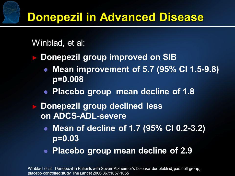 Winblad, et al: Donepezil group improved on SIB l l Mean improvement of 5.7 (95% CI 1.5-9.8) p=0.008 l l Placebo group mean decline of 1.8 Donepezil g