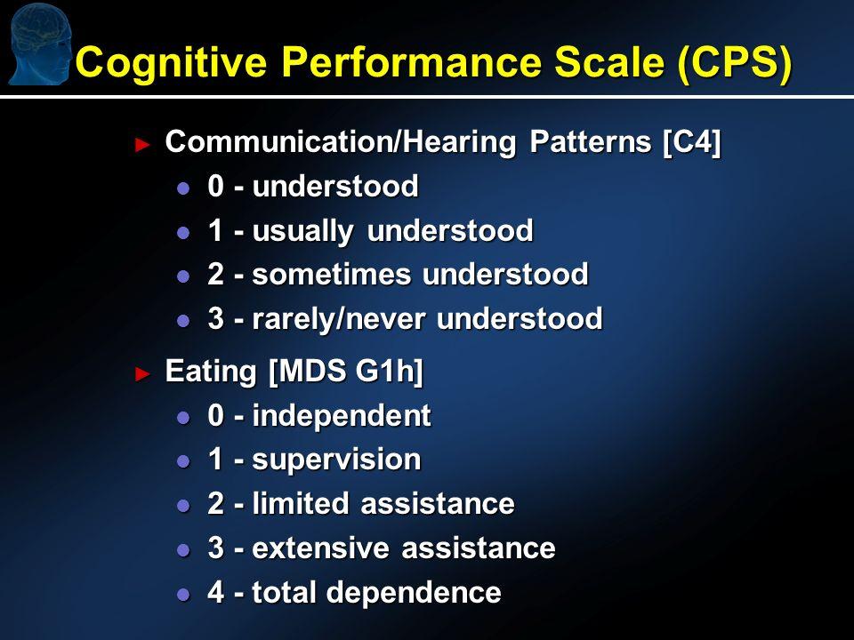 Cognitive Performance Scale (CPS) Communication/Hearing Patterns [C4] Communication/Hearing Patterns [C4] l 0 - understood l 1 - usually understood l 2 - sometimes understood l 3 - rarely/never understood Eating [MDS G1h] Eating [MDS G1h] l 0 - independent l 1 - supervision l 2 - limited assistance l 3 - extensive assistance l 4 - total dependence