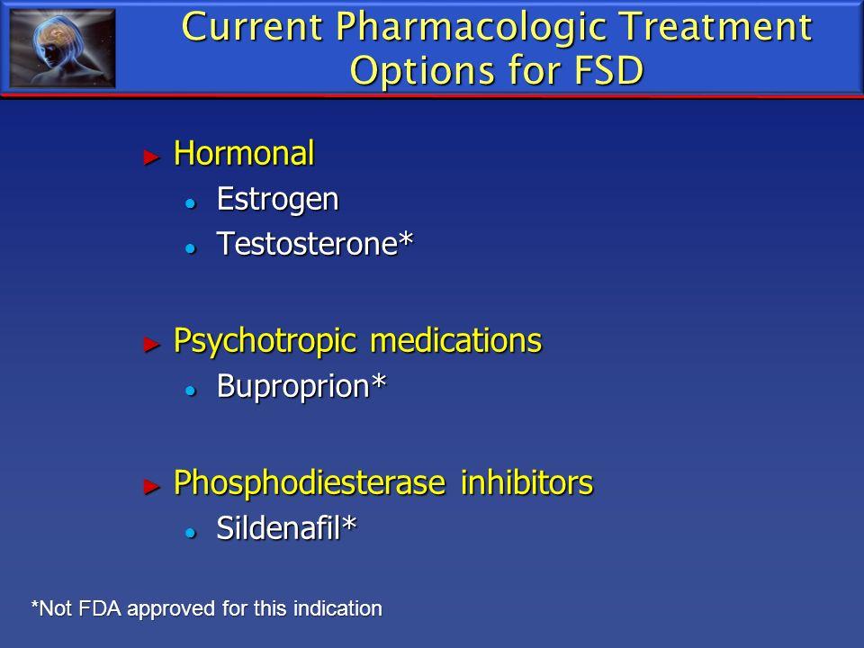 Current Pharmacologic Treatment Options for FSD Hormonal Hormonal Estrogen Estrogen Testosterone* Testosterone* Psychotropic medications Psychotropic