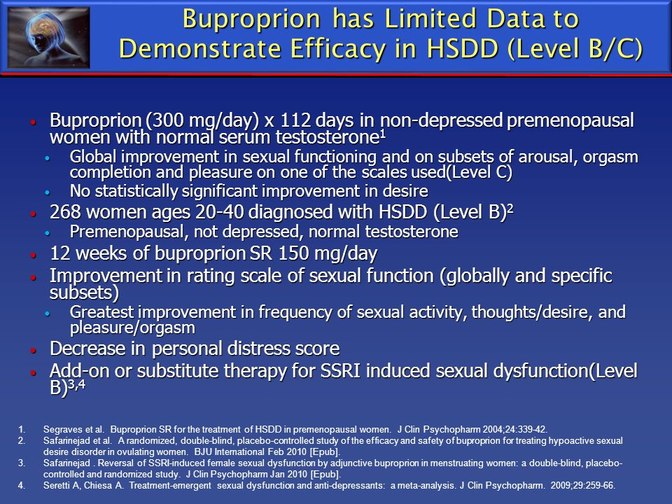 Buproprion has Limited Data to Demonstrate Efficacy in HSDD (Level B/C) Buproprion (300 mg/day) x 112 days in non-depressed premenopausal women with n
