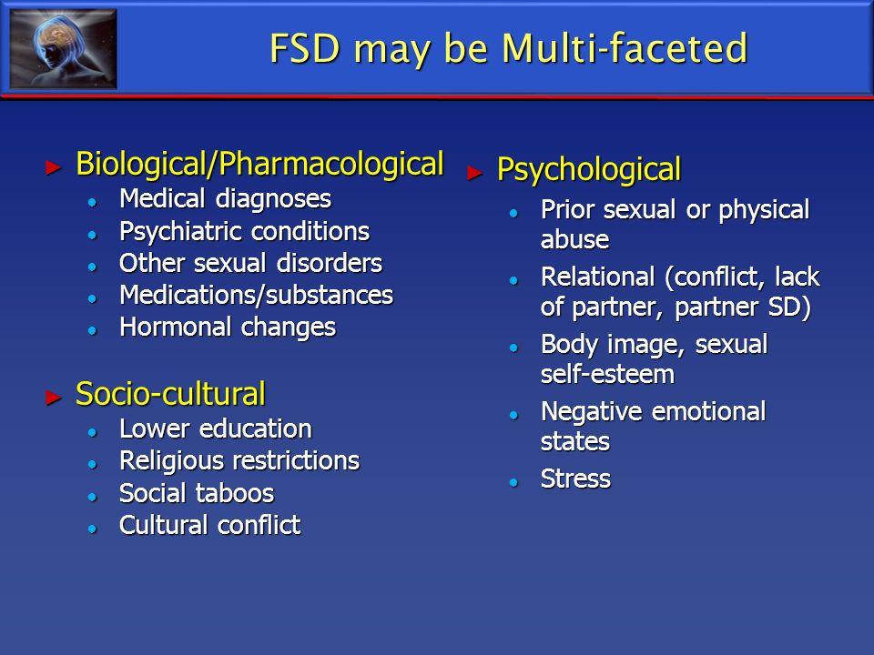 FSD may be Multi-faceted FSD may be Multi-faceted Biological/Pharmacological Biological/Pharmacological Medical diagnoses Medical diagnoses Psychiatri